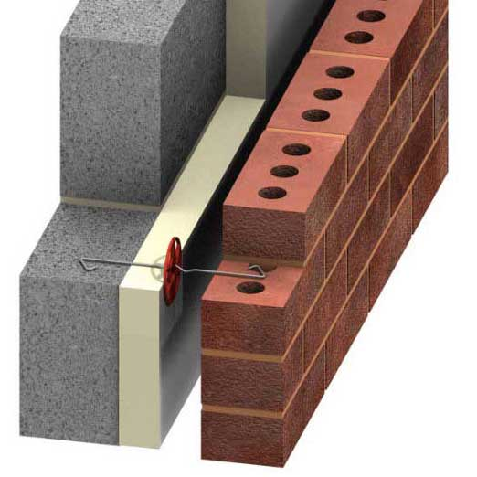 An insulated cavity wall