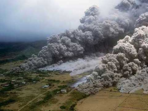 Dangers from volcanoes include a pyroclastic flow
